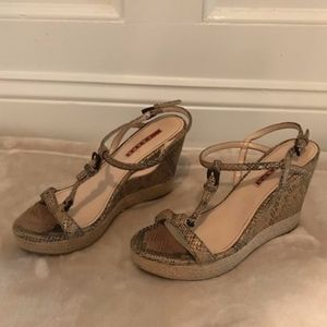 Prada wedge espadrille, embossed snake leather